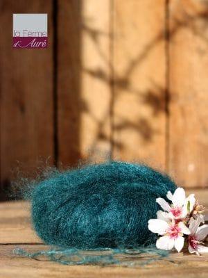 Pelote de laine mohair et soie bleu paon - Mohair de la Ferme d'Auré