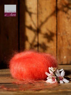 Pelote de laine mohair et soie corail - Mohair de la Ferme d'Auré