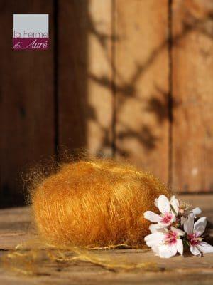 Pelote de laine mohair et soie jaune moutarde - Mohair de la Ferme d'Auré