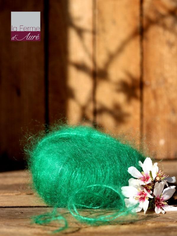 Pelote de laine mohair et soie vert perroquet - Mohair de la Ferme d'Auré