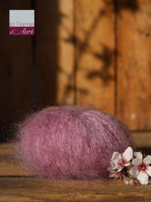 Pelote de laine pur mohair rose cendré - La Ferme d'Auré