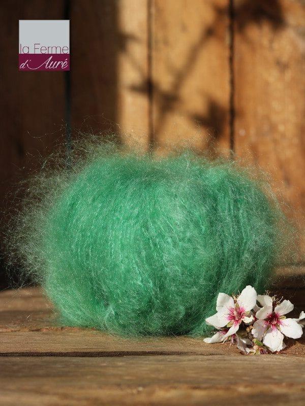 Pelote de laine pur mohair jade - Mohair de la Ferme d'Auré