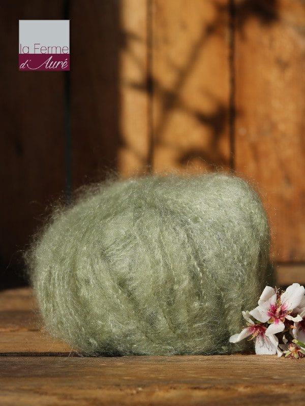 Pelote de laine pur mohair verveine - Mohair de la Ferme d'Auré