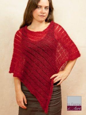 Modele tricot poncho en mohair et soie