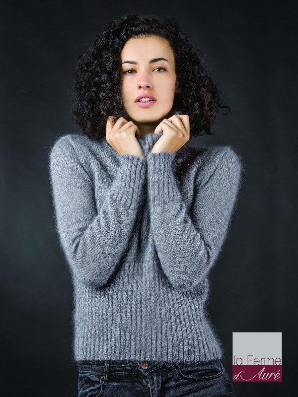 tricoter pull à col roulé femme