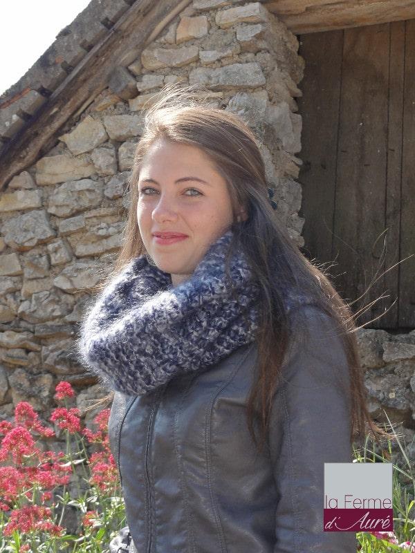 Modele tricot pour snood chiné en mohair