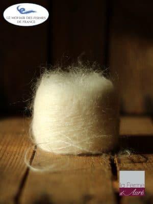 laine mohair et soie écru fil Plume - Mohair des Fermes de France