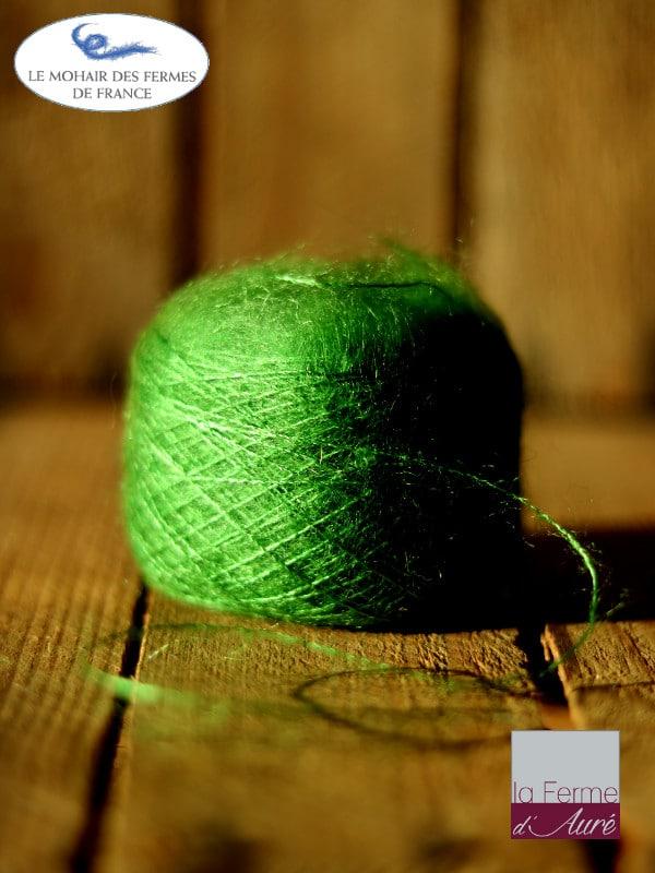 laine mohair et soie vert avocat fil Plume - Mohair des Fermes de France