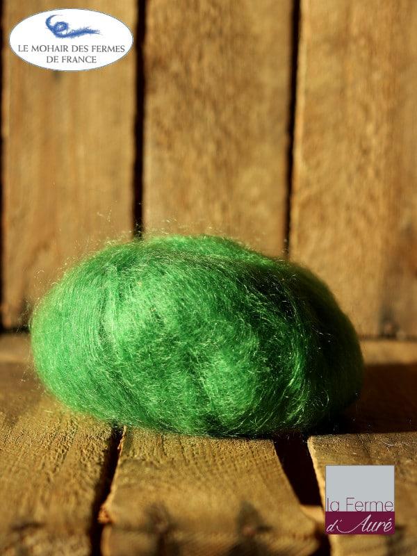 laine mohair et soie vert avocat- Mohair des fermes de France