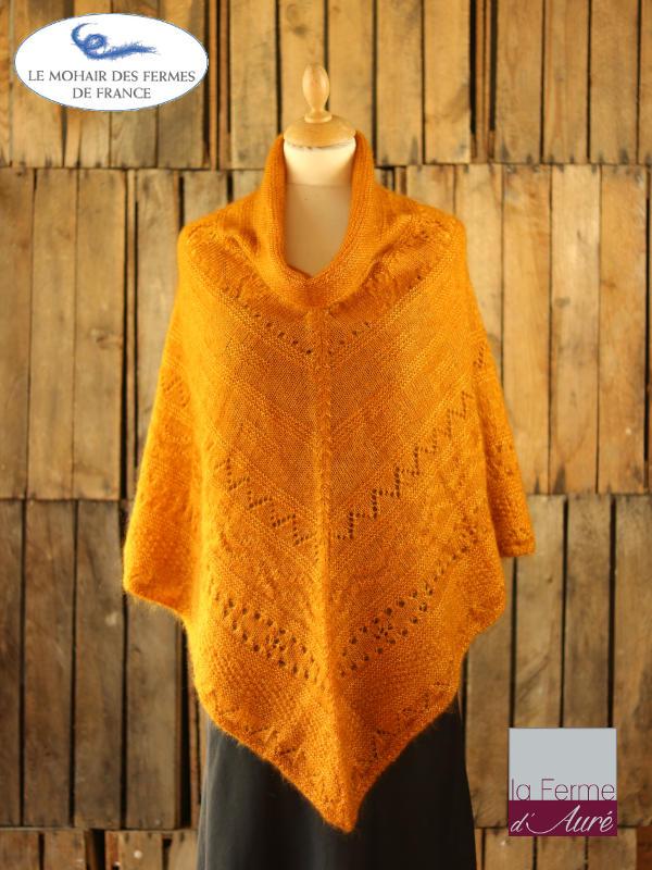 Poncho-femme-laine-mohair-ferme-aure-jaune-1