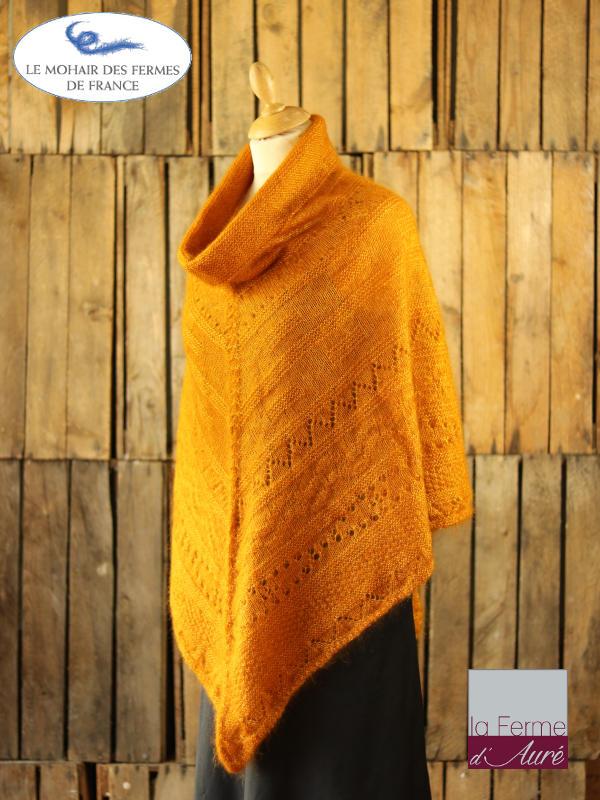 Poncho-femme-laine-mohair-ferme-aure-jaune-2