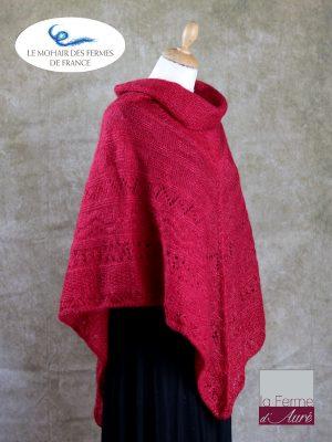 Poncho Mohair et Soie Rouge Rubis modele Sik par la Ferme d'Auré - 2