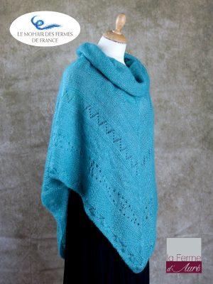 Poncho Mohair et Soie Turquoise modele Sik par la Ferme d'Auré - 2