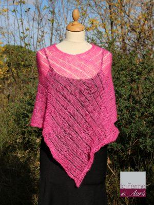 Poncho laine mohair et soie rose bonbon par la Ferme d'Auré