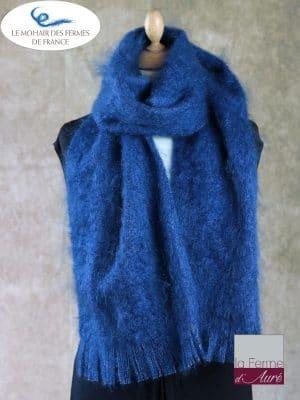 Grande Echarpe mohair et soie bleu hollandais - Mohair Ferme d'Auré