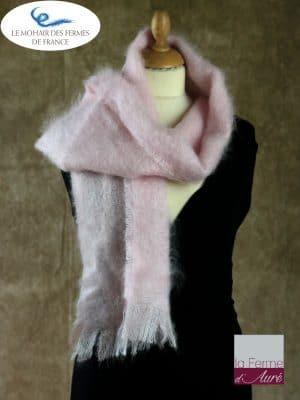 Echarpe mohair et soie rose poudré Petit modele - Mohair Ferme d'Auré