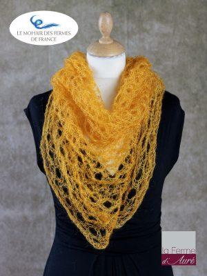 Echarpe mohair et soie foulard jaune soleil par la Ferme d'Auré