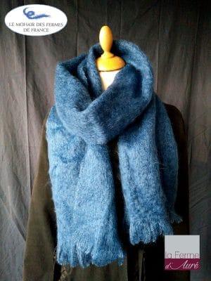 Grande Echarpe mohair et soie bleu - Mohair Ferme d'Auré