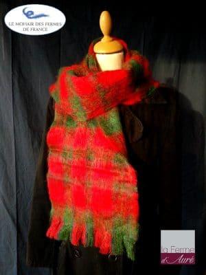 Echarpe laine mohair et soie tartan écarlate par la ferme d'Auré