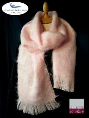 Grande Echarpe mohair et soie rose poudré - Mohair Ferme d'Auré