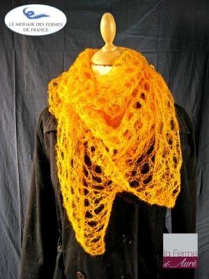 Foulard mohair et soie jaune soleil par la Ferme d'Auré
