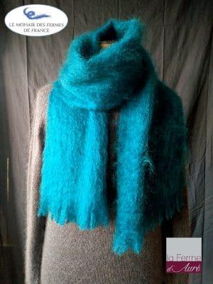 Echarpe chaude laine Homme Bleu - Mohair et soie