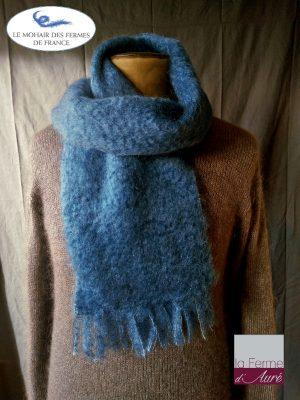 Petite Echarpe laine Homme Bleu - Mohair et soie