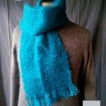 Echarpe laine Homme Bleu - Mohair et soie