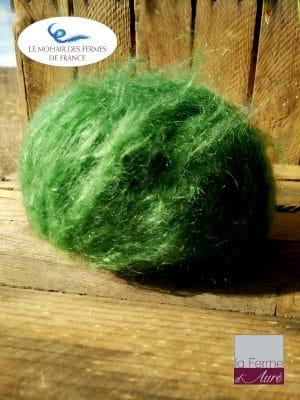 Pelote pure Laine Mohair Vert Bouteille par la Ferme d'Auré