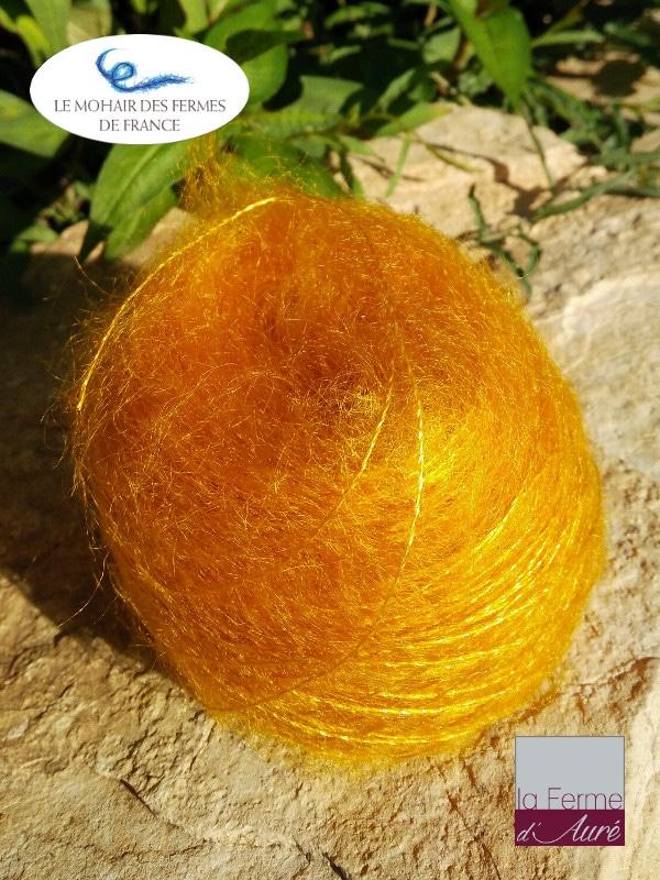 Mohair et Soie jaune Soleil Fil Plume - Mohair des fermes de France