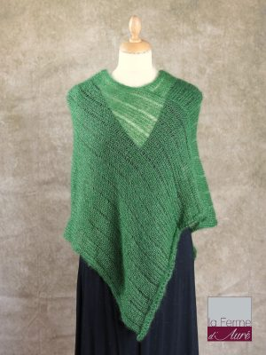 Poncho Mohair Soie Riviera coloris Vert Bouteille par la Ferme d'Auré - 1