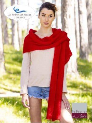 Echarpe tricotée Mohair et Soie Rouge Rubis côtes 1/1