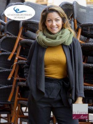 Echarpe tricotée Mohair et Soie vert Kaki côtes 1/1