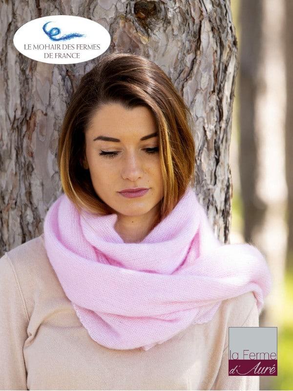 Echarpe tricotée Mohair et Soie Rose poudré côtes 1/1