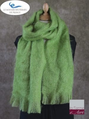 Grande Echarpe mohair et soie vert anis - Mohair Ferme d'Auré
